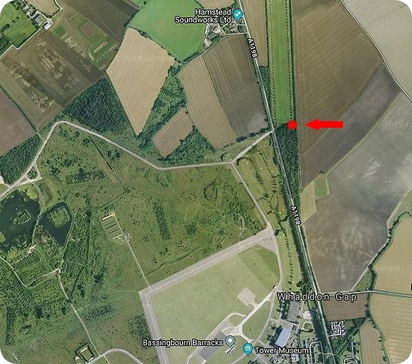 Satellite View -  the Memorial marker is indicated in red
