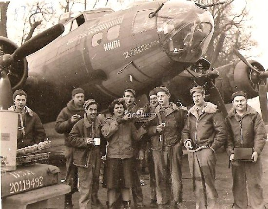 B-17F 'The Careful Virgin' and Ground Crew