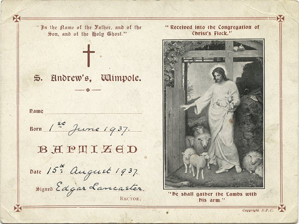 1937 Baptism Certificate, St Andrew's, Wimpole
