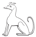The Hound Sejant mark - a seated heraldic greyhound