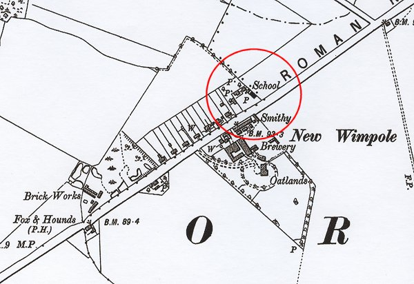 1903 (2nd Edition) Ordnance Survey Map, showing the location of the School at Wimpole