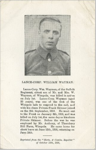 William Wayman - Commemorative Postcard 1916