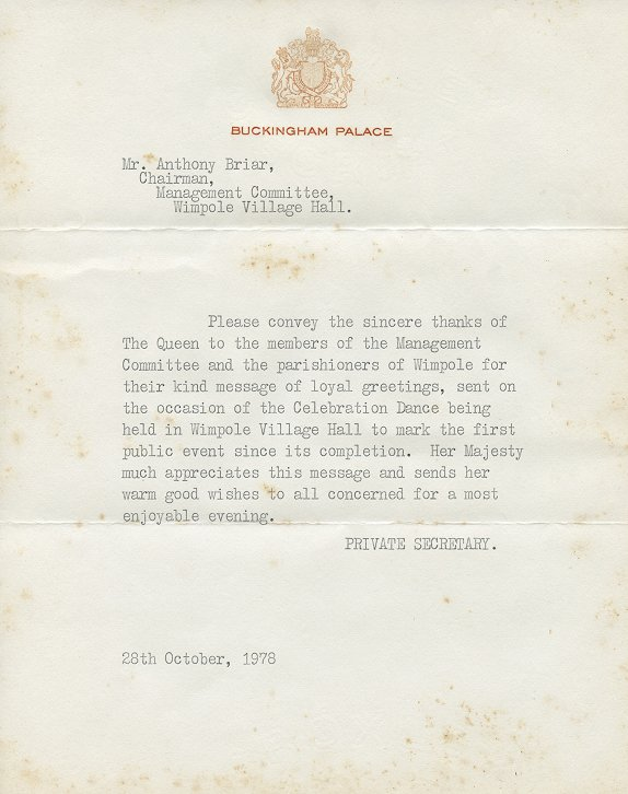 Wimpole Village Hall, Letter from Buckingham Palace 1978