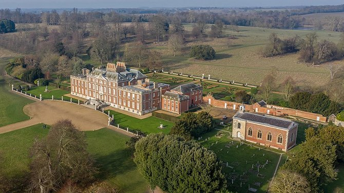 Aerial View of Wimpole Hall and St Andrew's Parish Church